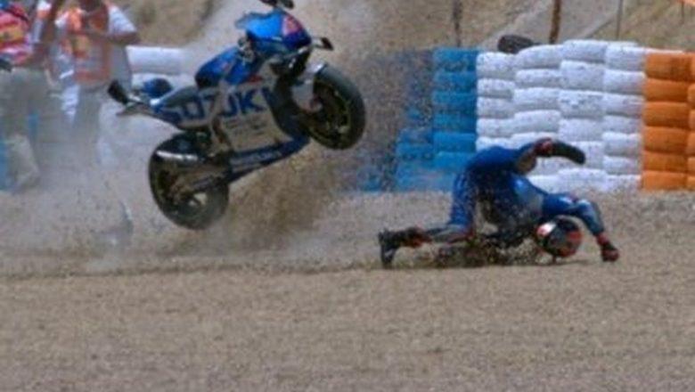 Espanhol sofre fratura no ombro após cair a 100km/h e rodar na pista em treino da Moto GP
